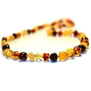 Collier Ambre adulte perles multicolore