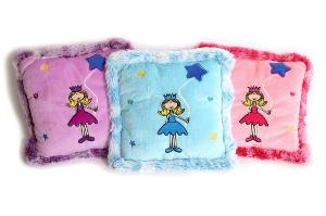 Coussins peluche «Princesse», lot de 3