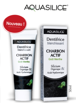 Dentifrice charbon actif, acide hyaluronique, Aquasilice